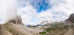 Panoramic view of tre cime di lavaredo, italy. valleys and alpin peaks Stock Photos