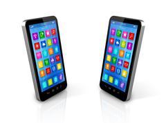 Smartphones exchanging Stock Illustration