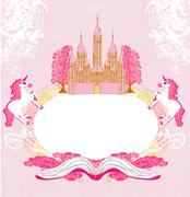 Fairy castle appearing from the book - abstract frame Stock Illustration