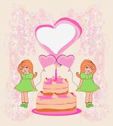 Birthday invitation,girl holding balloons and a birthday cake with candles Stock Illustration