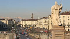 Torino traffic and statue in Italy Stock Footage
