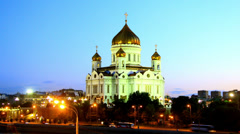 Timelapse christ the savior cathedral in moscow Stock Footage