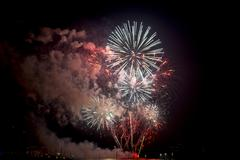 Toulon (var, provence-alpes-cote d'azur, france): traditional fireworks at july  Stock Photos