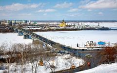 April view of strelka nizhny novgorod russia Stock Photos