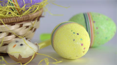 Close up of Easter Day Table Decoration Sliding Stock Footage