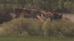 abandoned ship in chernobyl alienation zone - stock footage