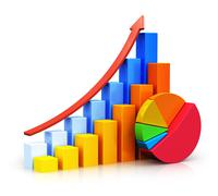 Growing bar graphs and pie chart - stock illustration