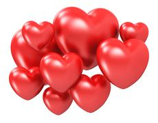 Red hearts - stock illustration