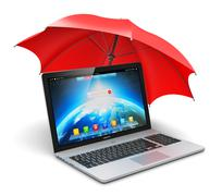 Notebook and umbrella - stock illustration