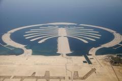 Jumeirah Palm Island Development In Dubai  Stock Photos