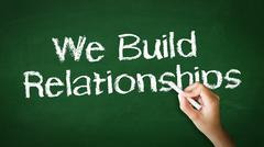 we build relationships chalk illustration - stock photo
