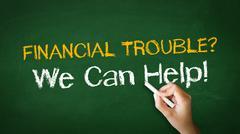 Financial trouble chalk illustration Stock Photos