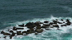 Tropical ocean surf and rocks Caribbean Puerto Rico HD 0558 Stock Footage