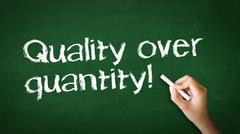 quality over quantity chalk illustration - stock photo