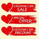 Stock Illustration of valentines day sale and discount, special offer with hearts in red banners