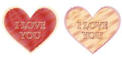 I love you in two striped hearts Stock Illustration