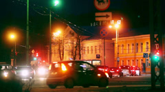 Evening traffic in Russian city, Petrozavodsk - stock footage