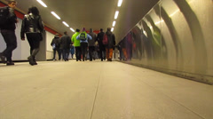 Crowd in metro and legs that run Stock Footage