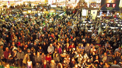People massed in trade fair Stock Footage