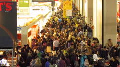 Crowd in mass exhibition fair - stock footage