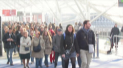 Crowd at the fair exhibition Stock Footage