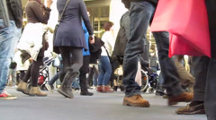 Legs anonymous crowd moving Stock Footage