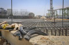 reinforce iron cage in a construction site - stock photo