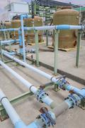 pvc chemical pipe line - stock photo