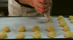 Pastry chef preparing pastries Stock Footage