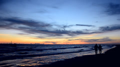 Beautiful evening sky and ocean waves Stock Footage