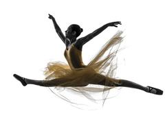 woman  ballerina ballet dancer dancing silhouette - stock photo