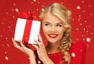 Stock Illustration of lovely woman in red dress with present