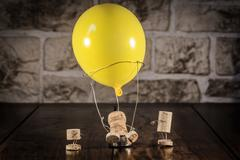 Wine cork figures, concept hot-air ballooning Stock Photos