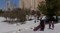 Kids play Jerusalem snow 151213 Stock Footage