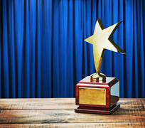 star award wooden table - stock photo