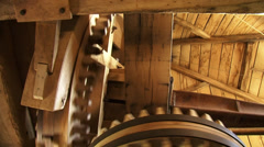 Interior windmill - cogwheels turning + rumble, creaking of the timber Stock Footage