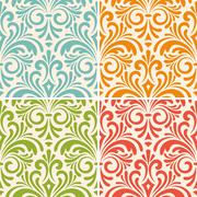 vector seamless floral vintage patterns - stock illustration