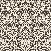 Stock Illustration of vector seamless floral vintage pattern on beige background