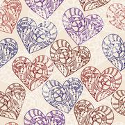 vector seamless pattern with hand drawn hearts - stock illustration