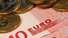 European finance. Closeups of Euro bank notes and coins. Stock Footage