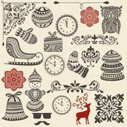 vector christmas design elements - stock illustration