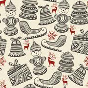 vector seamless winter pattern - stock illustration
