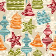 vector  bright seamless winter pattern - stock illustration