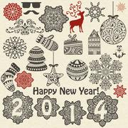 Stock Illustration of vector christmas  and new year design elements