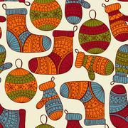 vector seamless winter christmas pattern - stock illustration