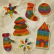 Stock Illustration of vector christmas stickers design elements