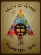 Stock Illustration of vector hipster christmas  greeting card