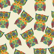 vector seamless pattern with bright owls - stock illustration