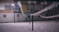 Frozen Sleet on Rope for Hanging Clothes - stock footage