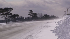 Cars driving through a whiteout. #6 Stock Footage